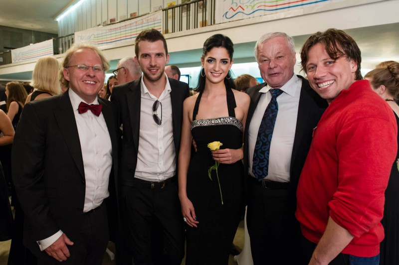 After a premiere at Schleswig - Holstein Music Festival (2013) (Left to right) Mr. Thomas Hummel, Gediminas Gelgotas, violinist Dalia Simashka, Mr. Rolf Beck, conductor Kristjan Järvi.